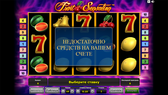 Характеристики слота Fruit Sensation 7